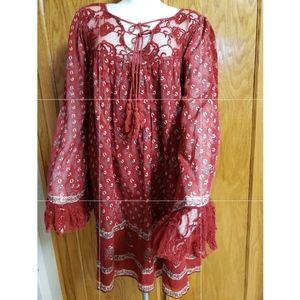 Free People Nomad Child Mini Dress/Tunic Top|Large